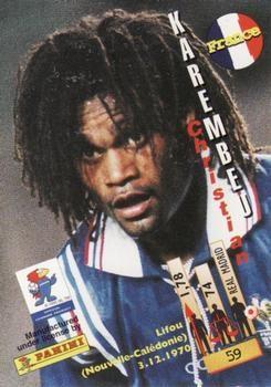 1998 Panini World Cup #59 Christian Karembeu Back