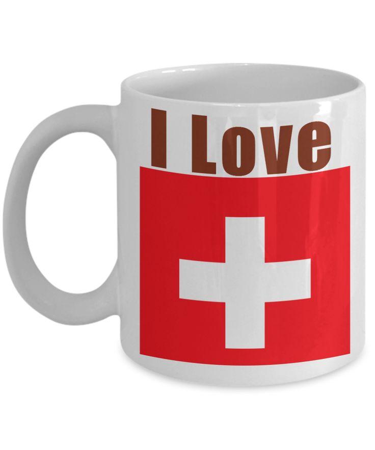 I Love Switzerland Coffee Mug With A Flag