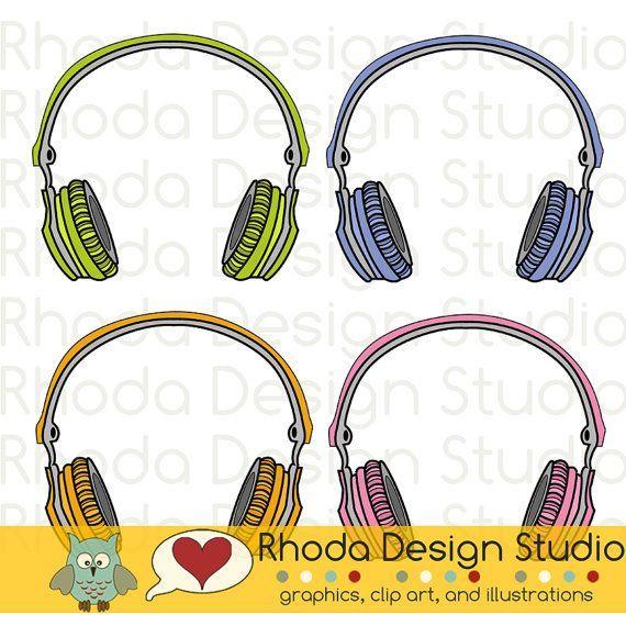 Music Headphones Digital Clip Art Retro by RhodaDesignStudio
