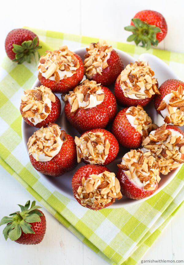 Cheesecake Stuffed Strawberries ~ http://www.garnishwithlemon.com