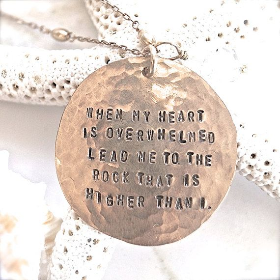 Gold Scripture Necklace - Psalm 61:2 Bible Quote Jewelry