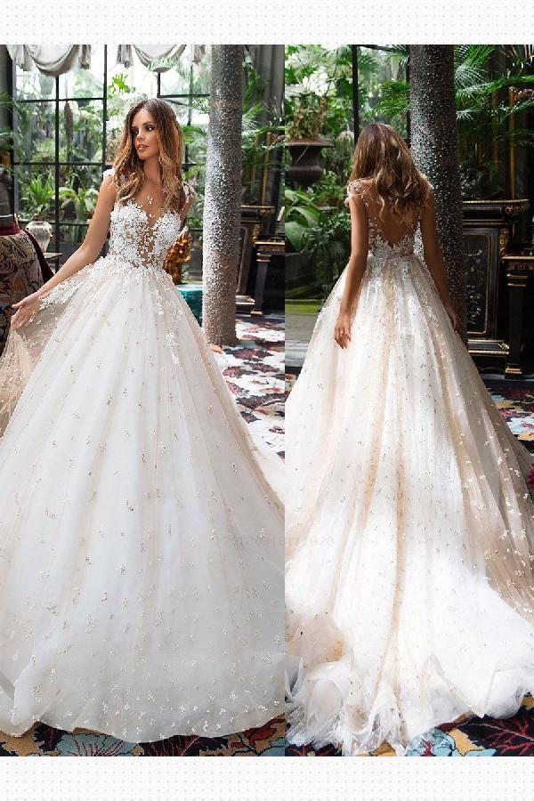 Cheap Fine A-Line Wedding Dresses, Lace Wedding Dresses, Modest Wedding Dresses, Vintage Wedding Dresses