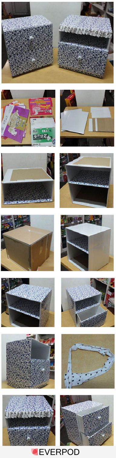 How to make a decorative storage box with drawers out of a cardboard box. http://96195.com/pic-766.html