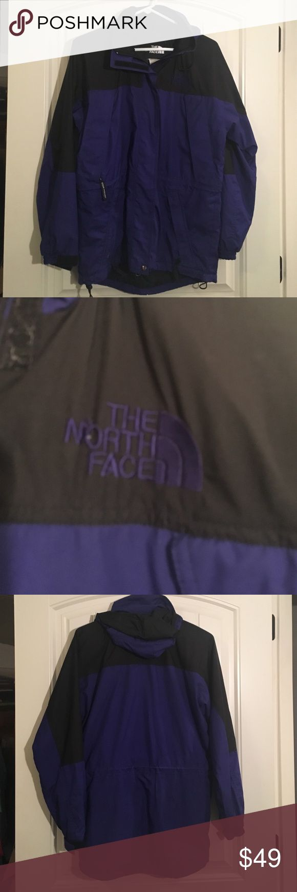 The North Face rain jacket OBO Good condition. Just sitting in the closet not being used. Great color. Dark purple. Tag is frayed from washing. The North Face Jackets & Coats