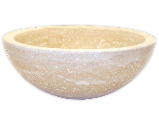 Travertine Sinks   Natural Stone Vessels-Small Vessel Sink Bowl - Honed Beige Travertine. $360
