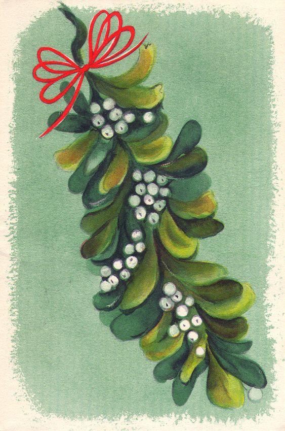 Christmas •~• vintage mistletoe greeting card