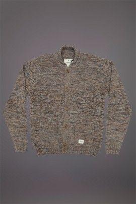 WEMOTO LYONS CARDIGAN NAVY CINNAMON MELANGE  WEMOTO A/W 14. 3 Gauge knitted cardigan made from a 60/40 cotton acrylic mix.  http://www.abandonshipapparel.com/product/wemoto-lyons-cardigan-navy-cinnamon-melange/