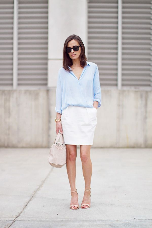 simple chic   white skirt + blue top