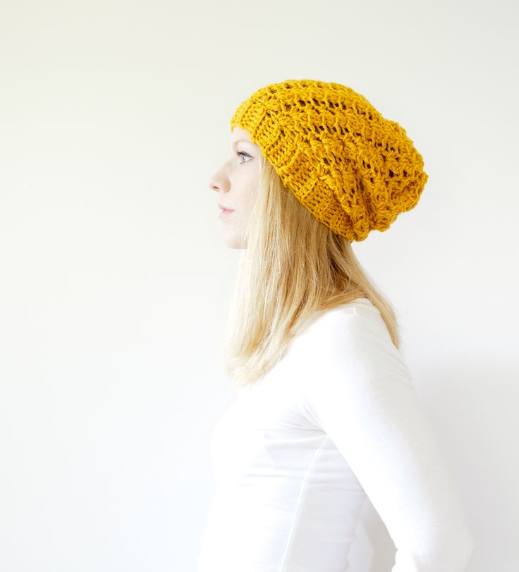 Slouchy hand knit yellow beanie