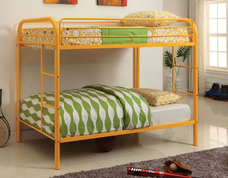 Furnish your kids bedroom with stylish, elegant and functional twin over twin bunk bed. Featuring a contemporary design, this bunk bed is constructed with tubular metal and bathed in a lovely orange finish. It features built in ladders on each side of the bed for convenience and full length guard rails that provide security. This listing is for the twin over twin bunk bed only. Mattress ready. Mattress not included. Assembly is required.  . | eBay!