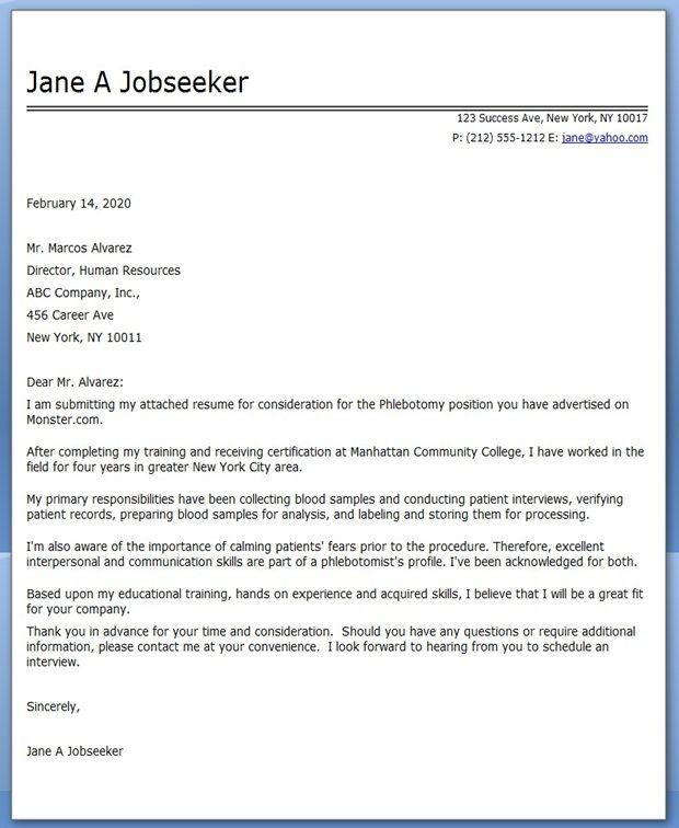 cover letter phlebotomy