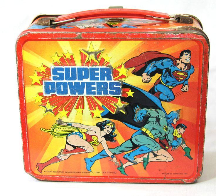 1983 Aladdin Super Powers Vintage Lunchbox DC Comics Batman Superman Wonder Woma