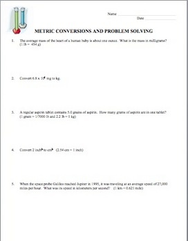 Students need much practice when learning the concept of dimensional analysis. The process of dimensional analysis can be used through out the year once the students grasp it. This is a worksheet of 10 problems that involves converting between different metric and English system units. Some of these are very complex.