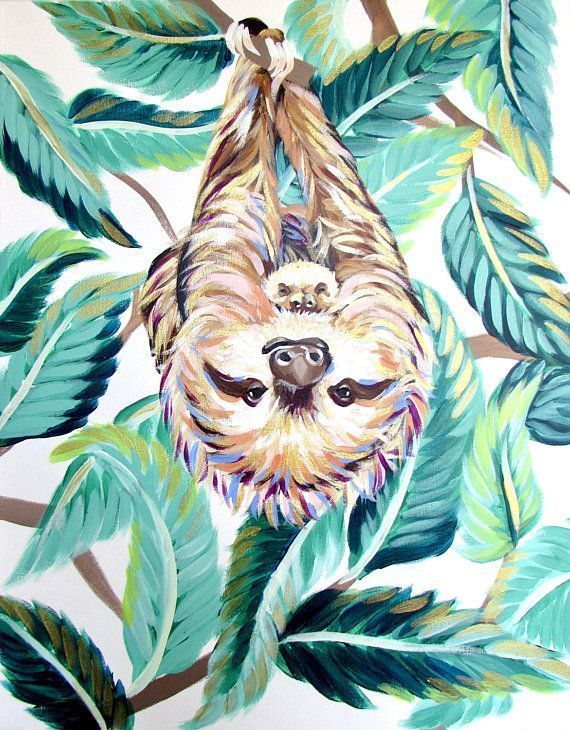 Sloth Painting 1620 By Kelsey Rowland Baby Sloth Jungle Leaf Print Three To 2020