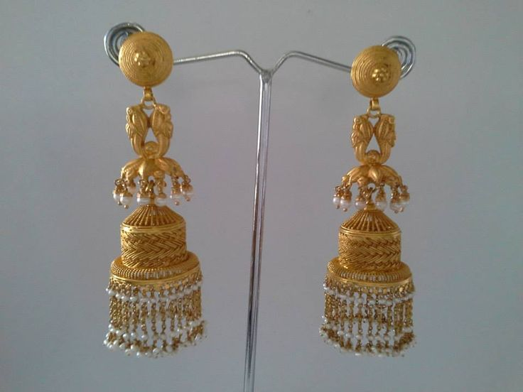 Antique Gold Jhumka Ea...