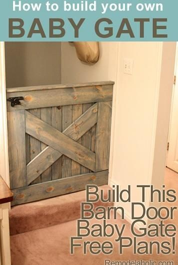DIY Barn Door Baby Gate (Plans and photos!). Great possibility for MB stairwell