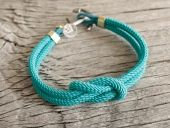 Nautical Square Knot Bracelet with anchor - Turquoise