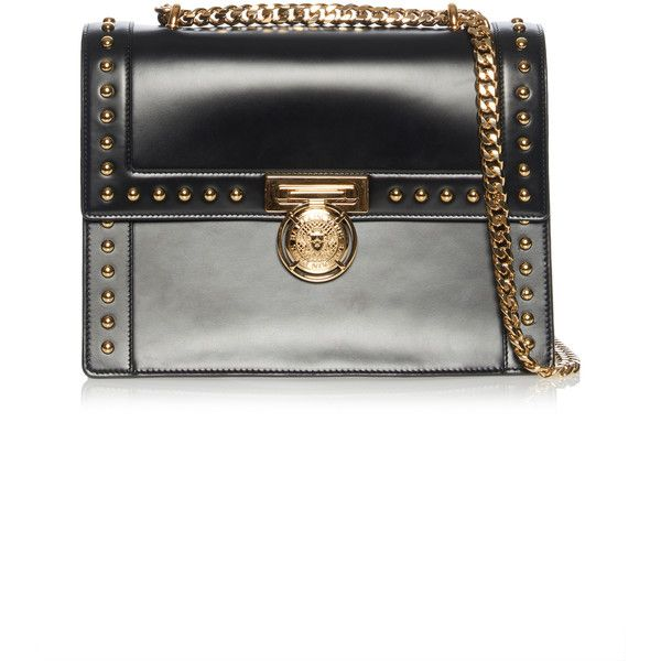 Balmain Studded Flap Bag with Coin ($2,495) ❤ liked on Polyvore featuring bags, handbags, shoulder bags, balmain, black, studded shoulder bag, metallic purse, chain strap purse and metallic shoulder bag