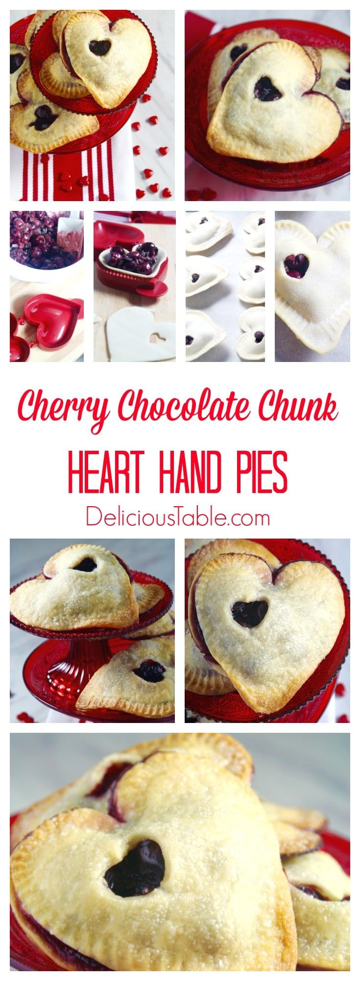 Sweet Cherry Chocolate Chunk Heart Hand Pies with a sugar crust. Hand pies are just that, no fork required! Make these fun treats for your sweetheart!
