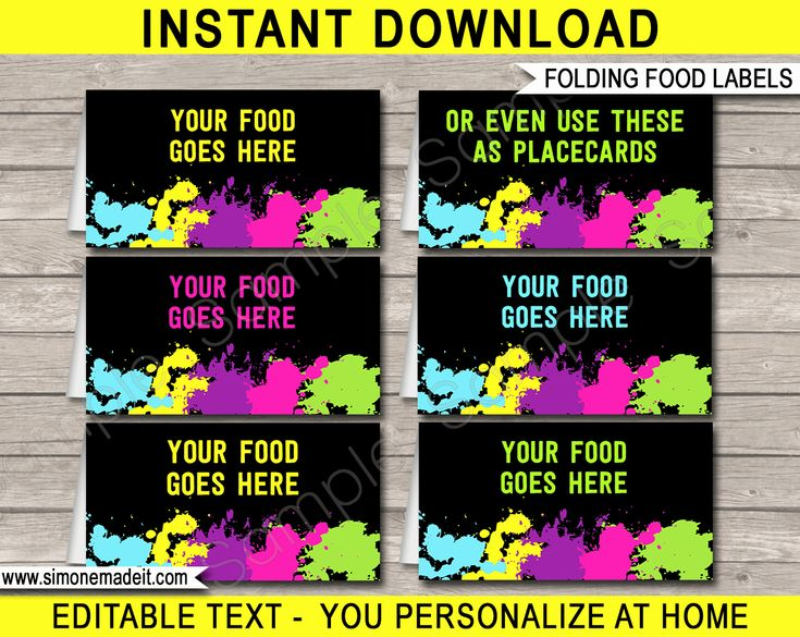 Glow Party Invitation Template New Neon Glow Party Food