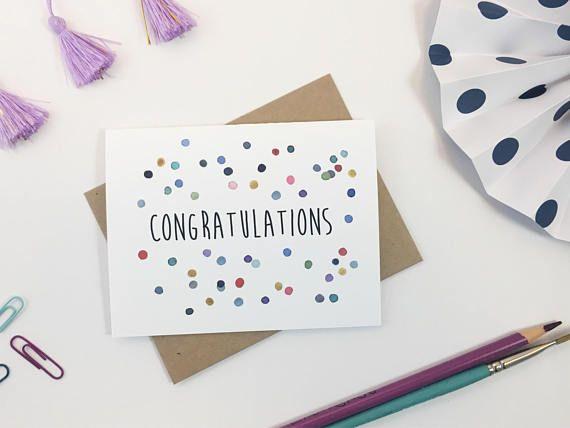 Congratulation Greeting Card Congrats Handmade painted