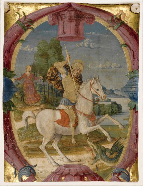 ... - Святой Георгий поражающего копьем дракона, манускрипт на пергаменте [северной Италии (Верона), c.1490-1500]