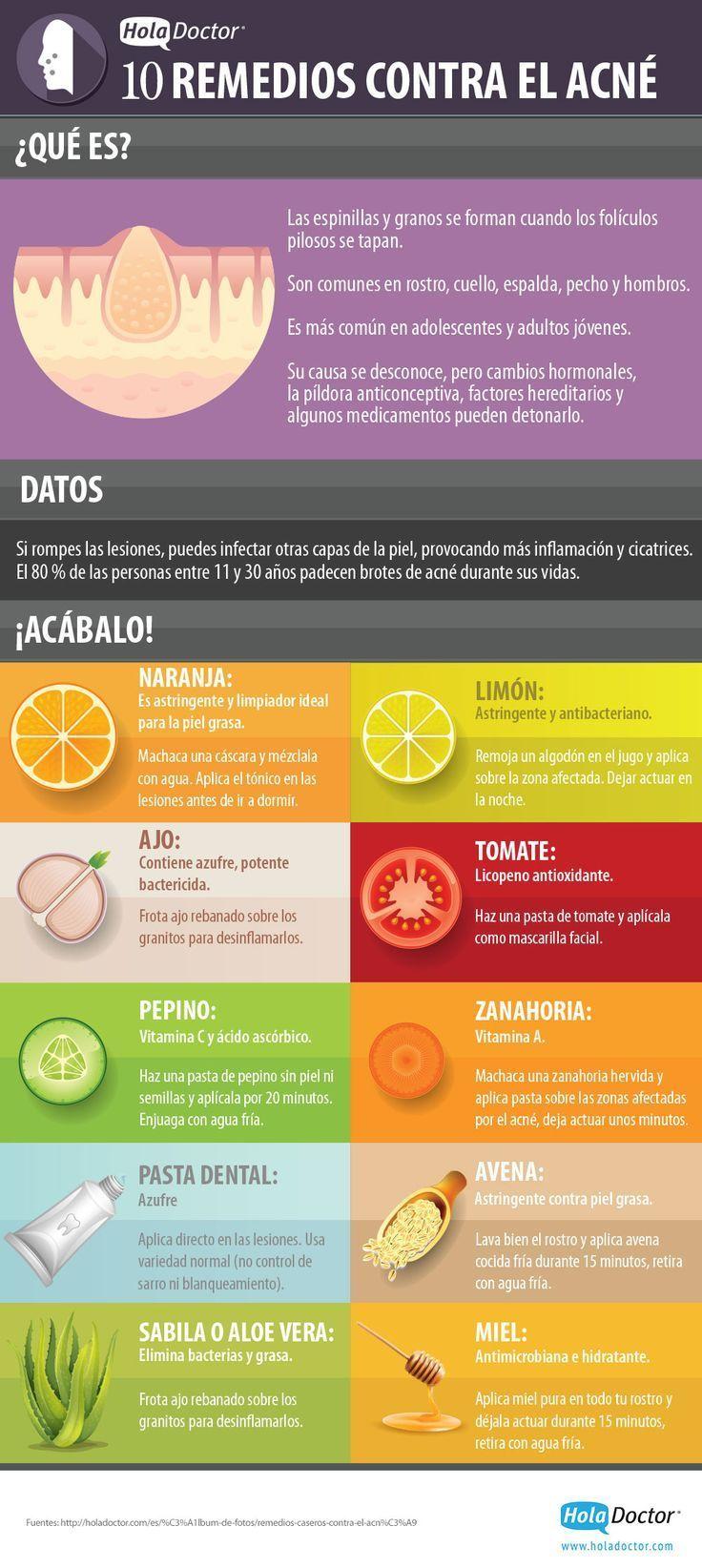 El 80% de las personas adultas entre 11 y 30 añospadecen brotes de acné durante sus vidas. Las causas se desconocen, pero los cambios hormonales, la píldora anticonceptiva, factores hereditarios y algunos medicamentos pueden detonarlo. Afortunadamente existen algunos remedios caseros contra el acnéque nos pueden ayudar a combatirlo. En esta infografía podemos ver 10 de …