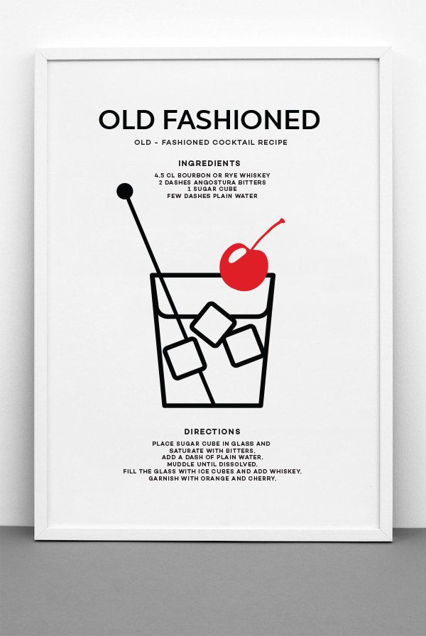 Old Fashioned Cocktail Art Print - PRINTABLE FILE. Classic Cocktail Recipe Print. Modern Cocktail Kitchen Art. Call Me Old Fashioned Print. (6.00 USD) by ILKADesign