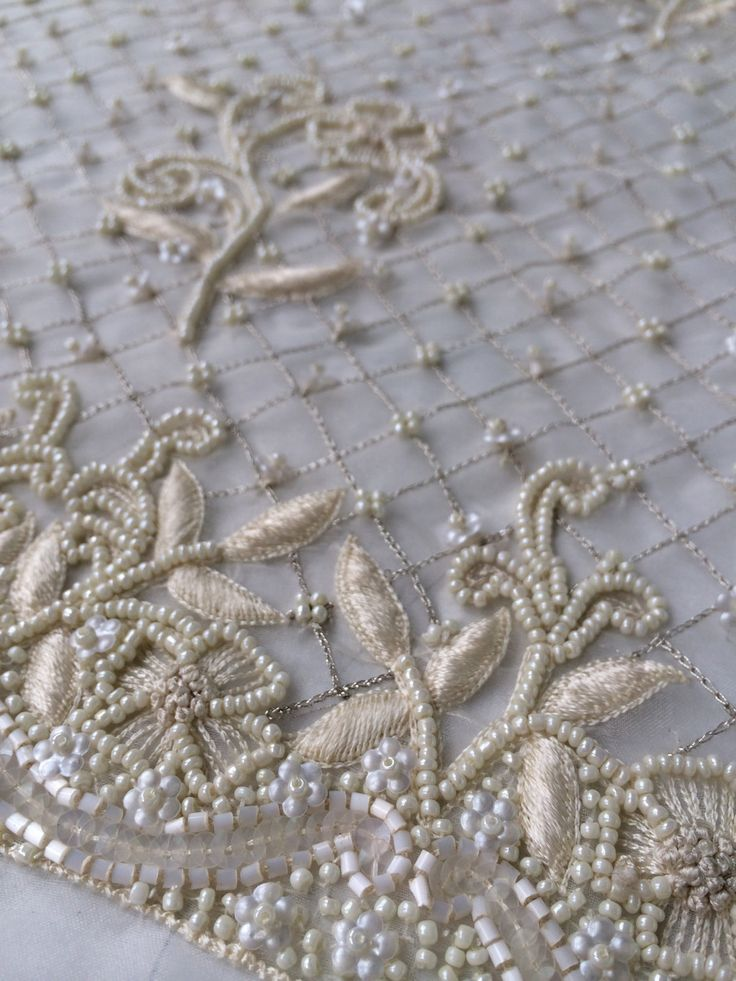Ivory Couture Beading for Bridal Dress by IntlPleating on Et
