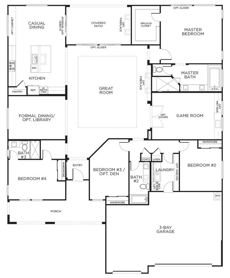 Love this layout with extra rooms single story floor - Single story 4 bedroom modern house plans ...