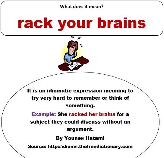 Rack Your Brains To Try Very Hard Think Of Something