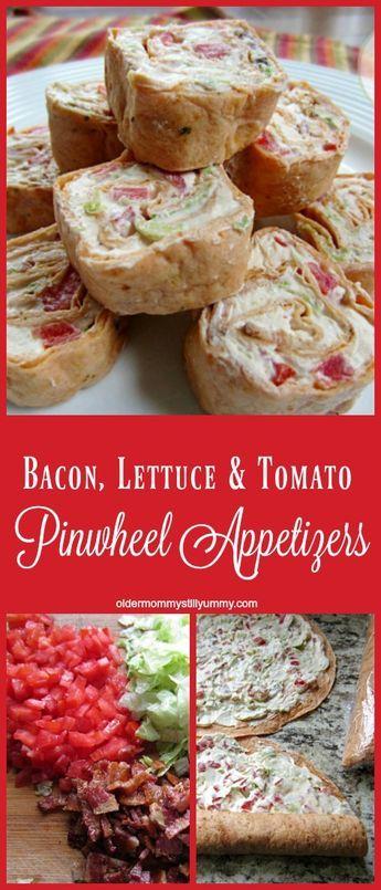 Bacon, Lettuce & Tomato Pinwheel Appetizers - Older Mommy Still Yummy