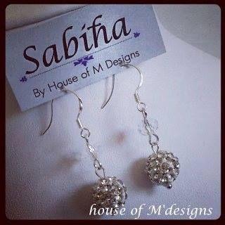Diamante set Swarovski crystal beads earrings set with sterling silver hooks
