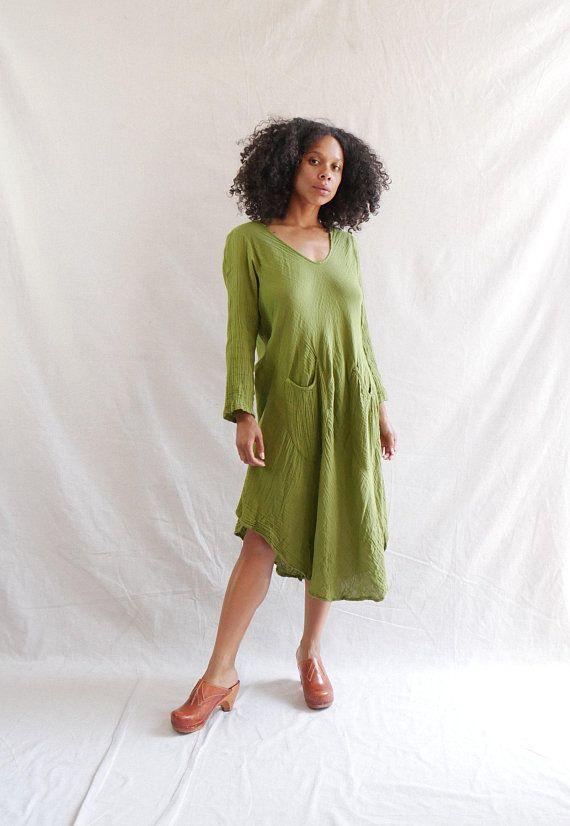 085226bebc4 Vintage cotton gauze dress - Vintage boho maxi dress - olive green cotton  dress
