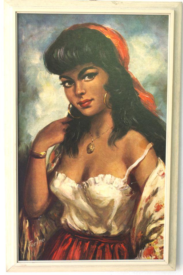 Vintage Torino print of a Spanish Gypsy Lady.