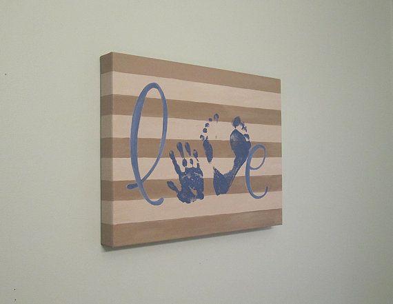 """Handprint and Footprint """"Love"""" Canvas Art, Custom, Stripes, Handpainted Keepsake with Print Kit, 12""""x16"""" on Etsy, $43.30 AUD"""