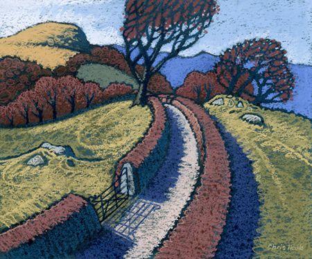 Chris Neale Uwchben, Dyffryn Conwy Ink Wash. Pastel on Board 30 x 36 cm. SOLD