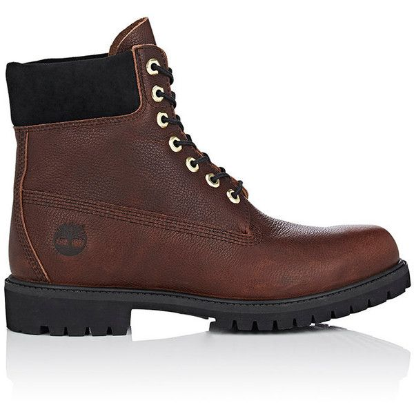 """Timberland Men's BNY Sole Series: \""""6-Inch\"""" Grained Leather Boots (3,355 MXN) ❤ liked on Polyvore featuring men's fashion, men's shoes, men's boots and men's work boots"""