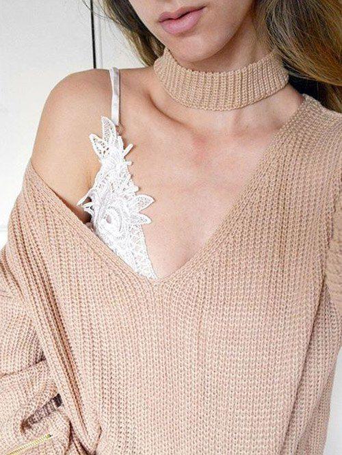 V Neck Ribbed Choker Sweater KHAKI: Sweaters | ZAFUL