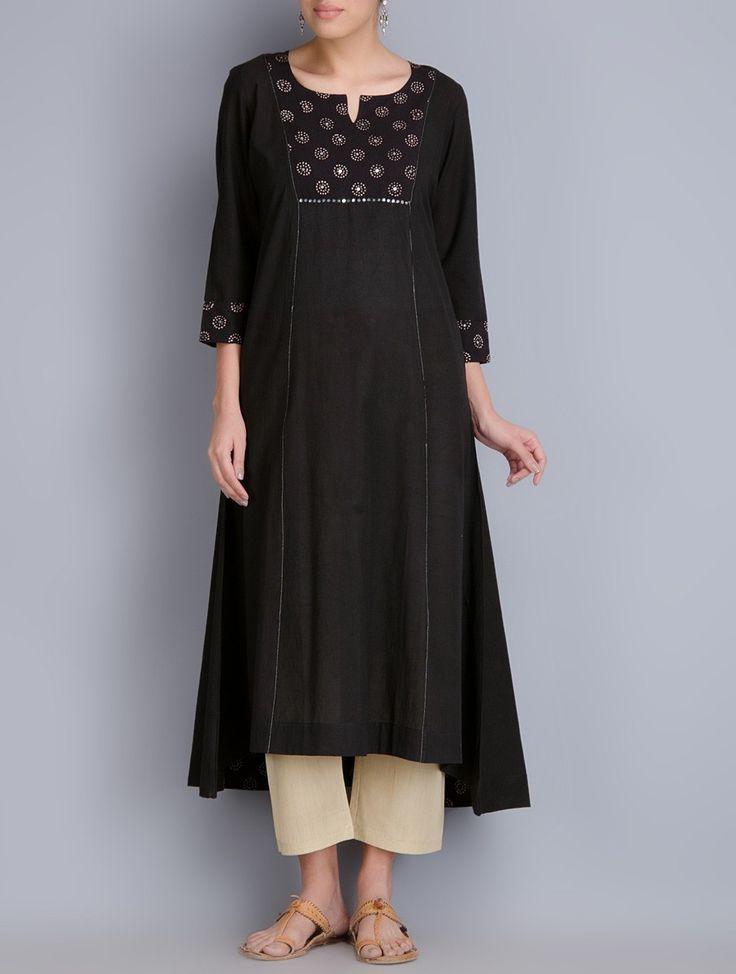 Buy Black Block Printed Cotton Kurta Apparel Tunics & Kurtas Online at Jaypore.com
