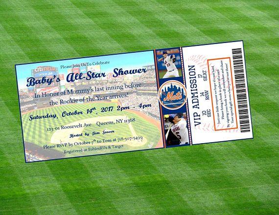 New York Mets Inspired MLB Baseball Ticket Baby Shower
