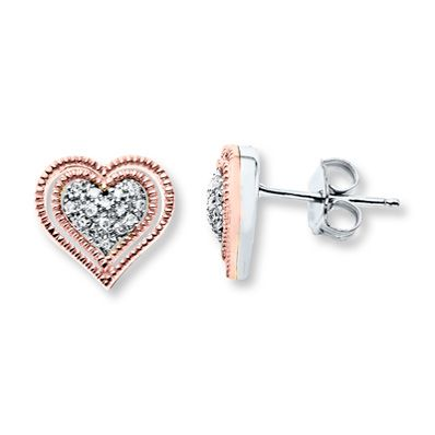 Diamond Heart Earrings 1/10 ct tw Sterling Silver/10K Gold
