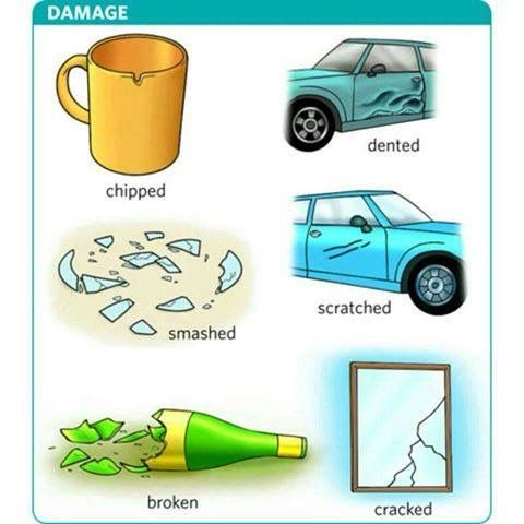 Vocabulary - Damage: chipped, dented, smashed, scratched, broken, cracked