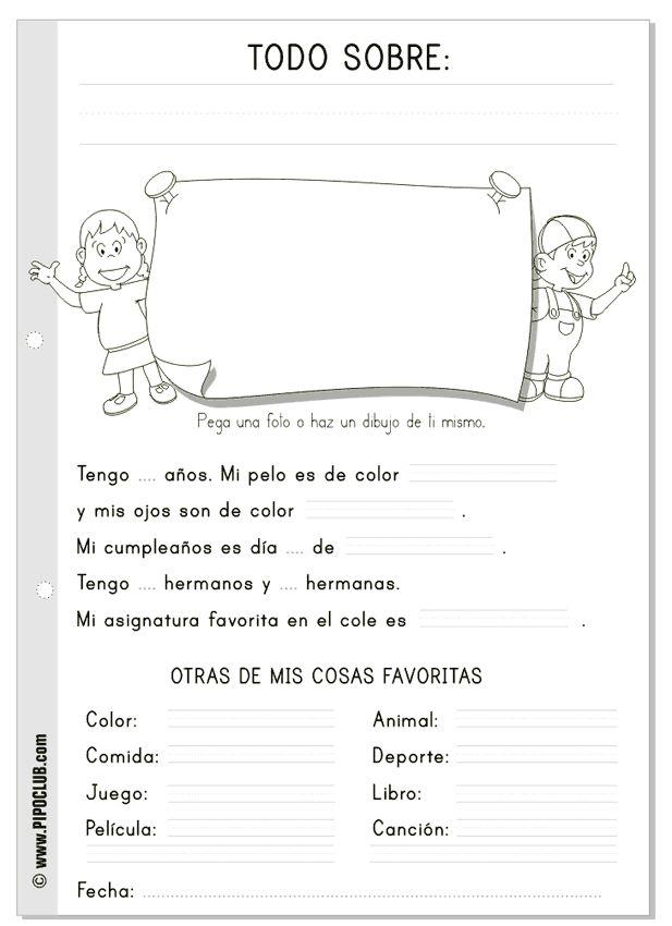 """Ficha """"Todo sobre mi"""" #lectoescritura #niños #infantil #mayúsculas desde el blog de los juegos educativos #Pipo"""