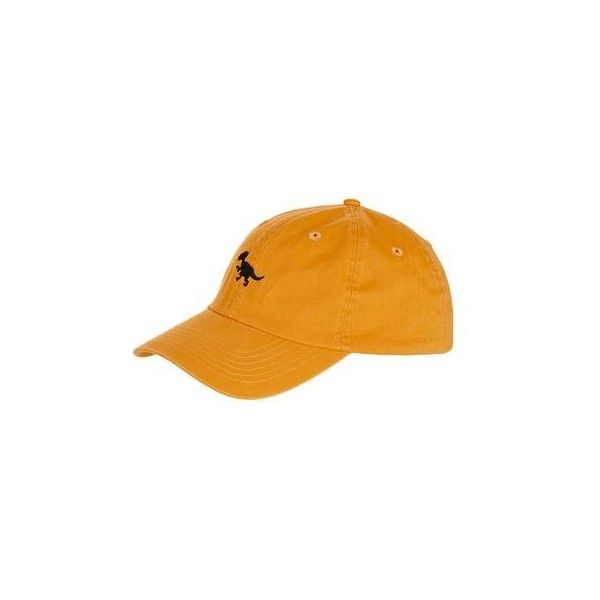 TopShop Dino Washed Cap ($12) ❤ liked on Polyvore featuring accessories, hats, mustard, embroidered hats, embroidered caps, cap hats, embroidery hats and topshop hats