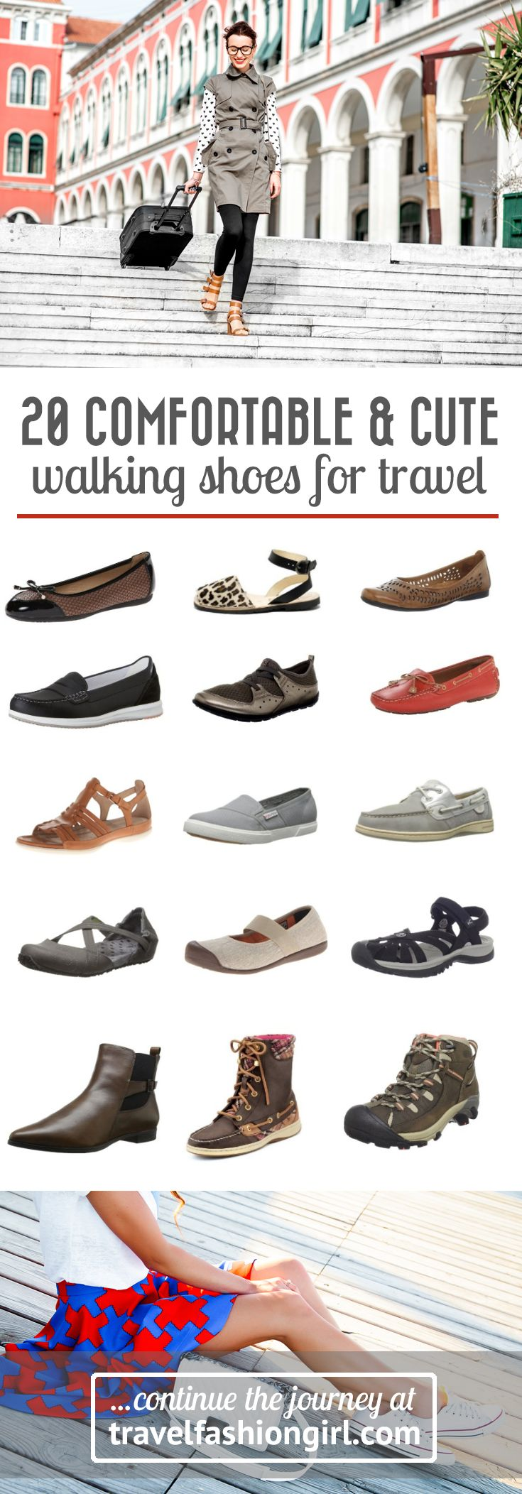 Looking for comfortable and cute walking shoes for travel? Say goodbye to ugly travel shoes! Travelfashiongirl.com