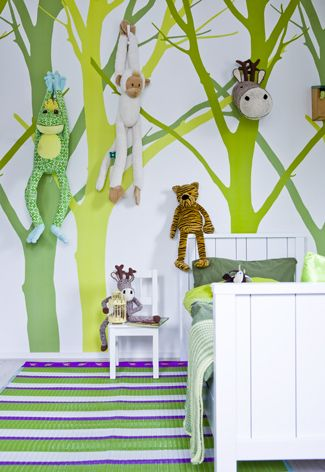 Childs room with forrest