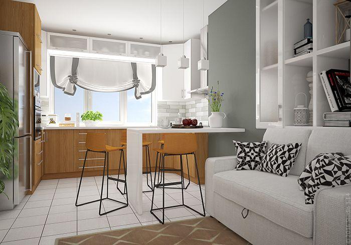 Для оформления выбраны нейтральные серые и белые цвета с натуральным деревом для кухонной мебели.
