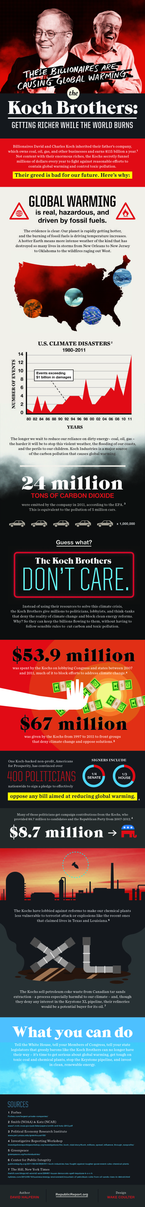 Koch Brothers - Getting richer while the world burns.