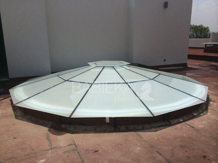 Cubierta con acceso para mantenimiento cristal templado - Estructuras de aluminio para terrazas ...